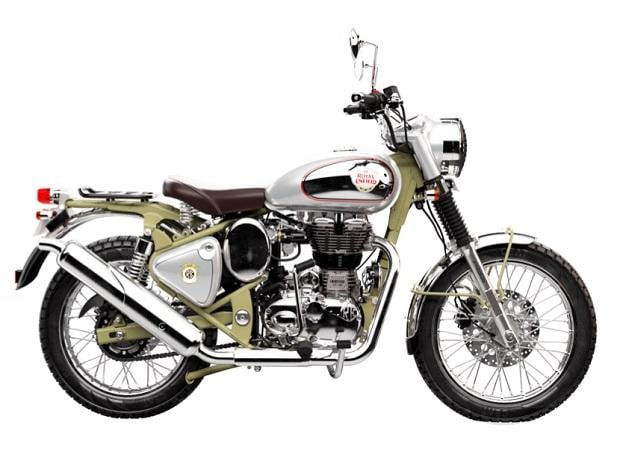 The new Royal Enfield Bullet Trials 350 and Trials 500 continue to ride on 19-inch front and 18-inch rear spoke wheels