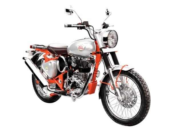 The Royal Enfield 350cc trials Bullet was the first production motorcycle to feature swinging arm suspension