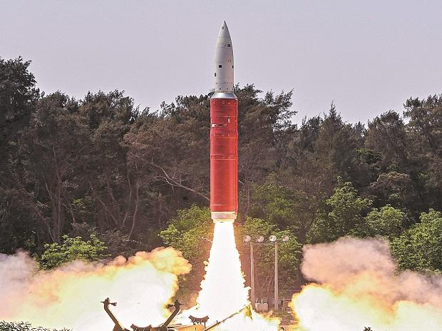Ballistic Missile Defence Interceptor missile being launched by DRDO from Odisha on Wednesday photo: PTI