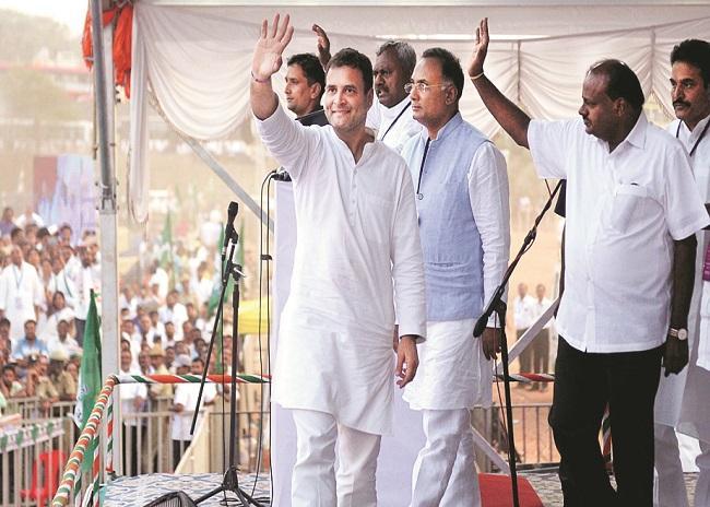 Rahul Gandhi at a rally in Bengaluru on SundayPhoto:PTI