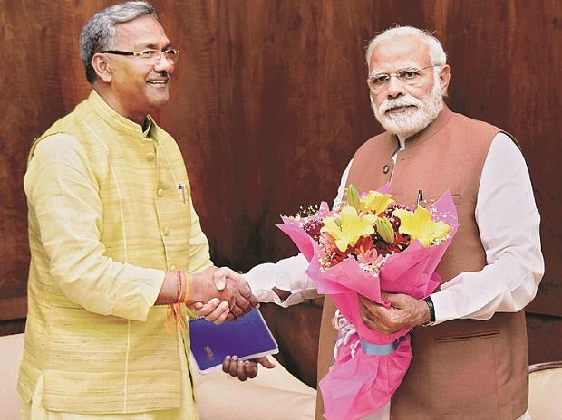 File photo of Uttarakhand CM Trivendra Singh Rawat with PM Narendra Modi