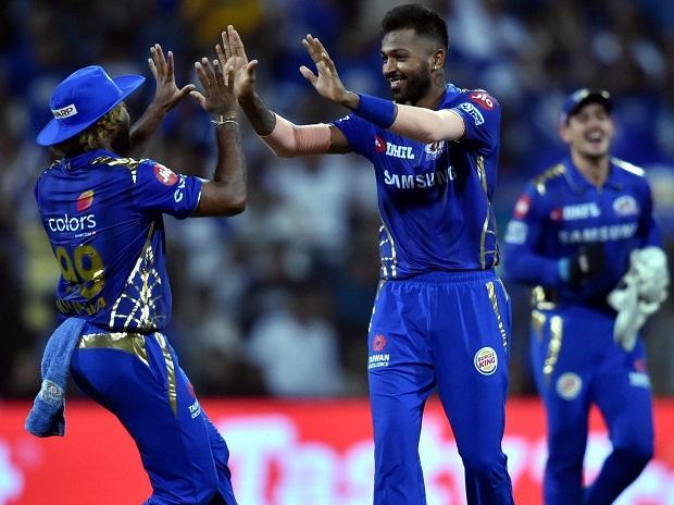 Mumbai Indians (MI) player Hardik Pandya celebrates after claiming the wicket of MS Dhoni during the Indian Premier League 2019 (IPL T20) cricket match between Mumbai Indians (MI) and Chennai Super Kings (CSK) at Wankhede Stadium in Mumbai, Wednesday