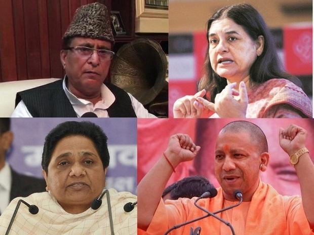 (Clockwise) Maneka Gandhi, Yogi Adityanath, Mayawati, and Azam Khan