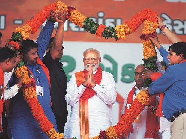 Prime Minister Narendra Modi at a rally in Gujarat's Patan, on the last day of campaigning in the state Photo: Reuters