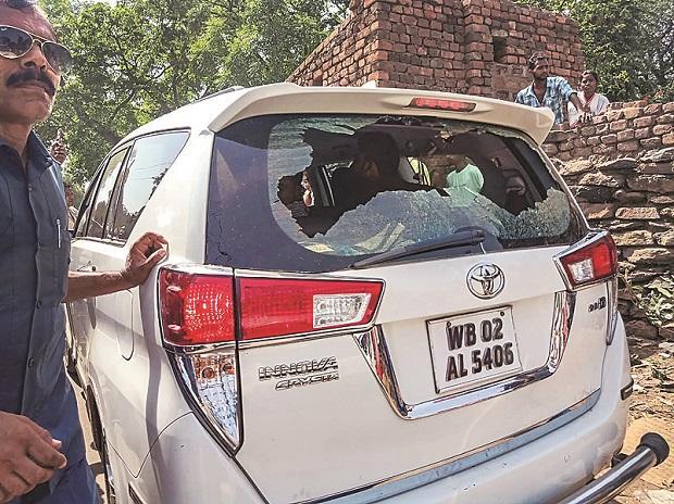 The car of BJP MP Babul Supriyo was vandalised in Bardhaman, allegedly by TMC workers Photo: pti