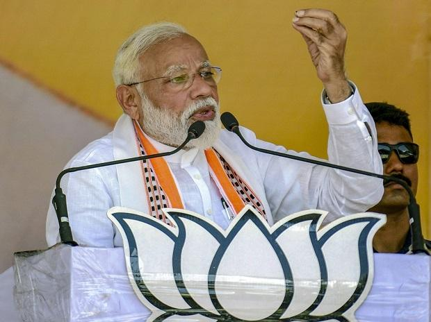 Prime Minister Narendra Modi addresses an election campaign rally for the Lok Sabha polls, at Bharwari in Kaushambi district, Wednesday, May 1, 2019