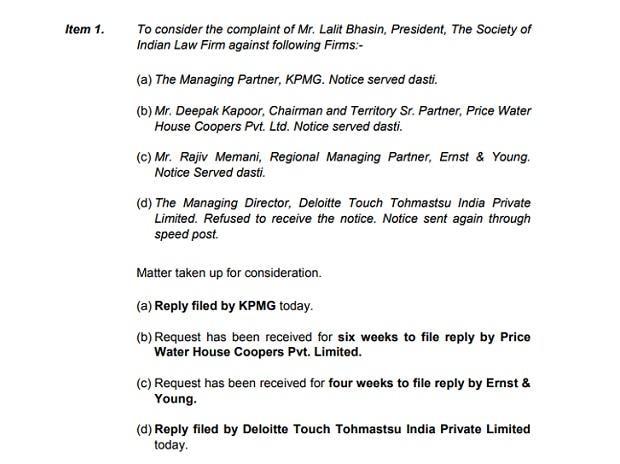 Bar Council of Delhi directs KPMG, PwC, E&Y, Deloitte not to