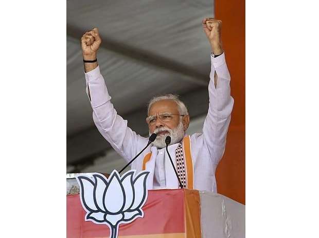 Ratlam: Prime Minister Narendra Modi gestures as he addresses an election campaign rally for the ongoing Lok Sabha polls, in Ratlam, Monday, May 13, 2019. (PTI Photo)