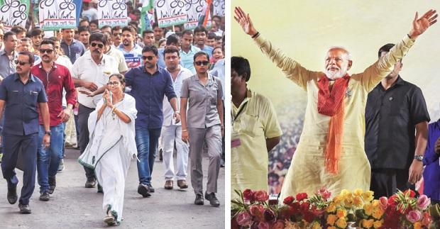 Trinamool Congress leader Mamata Banerjee arrives at a rally in Kolkata on Thursday; Prime Minister Narendra Modi, too, held a rally in the city. Photo: PTI