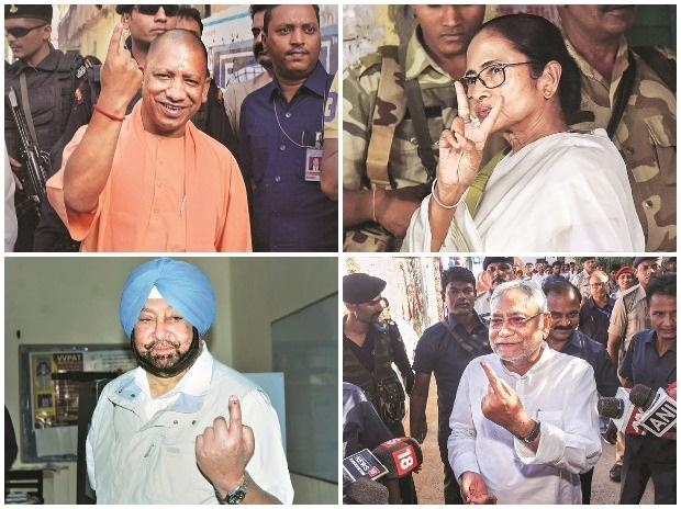 UP CM Yogi Adityanath, West Bengal CM and TMC Supremo Mamata Banerjee, Bihar CM Nitish Kumar, and Punjab CM Amarinder Singh after casting their vote in the seventh and last phase of 2019 elections on Sunday Photo: PTI