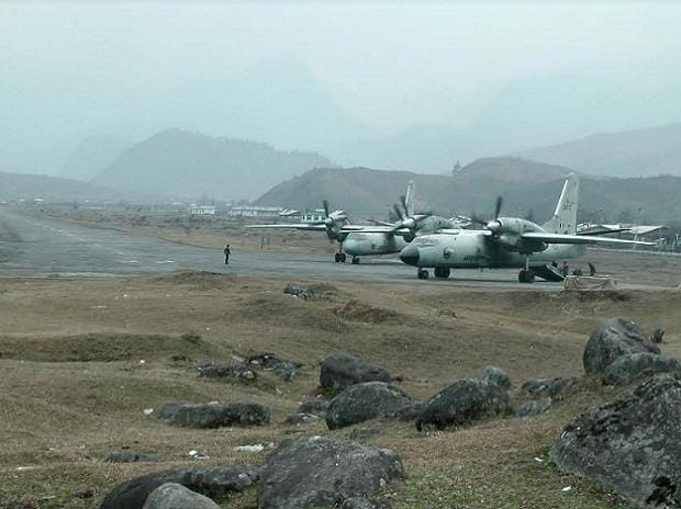AN-32 aircraft at an advanced landing ground in Mechuka, on the Sino-Indian border. These workhorses supply the Indian army outposts along the Line of Actual Control (LAC). Photo: Ajai Shukla