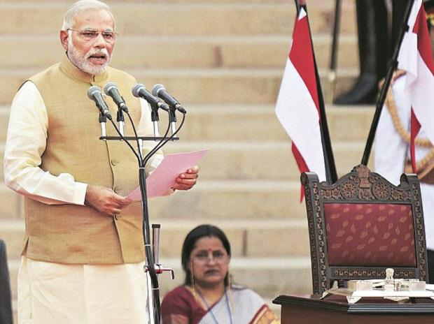 File photo of Narendra Modi taking oath in 2014.