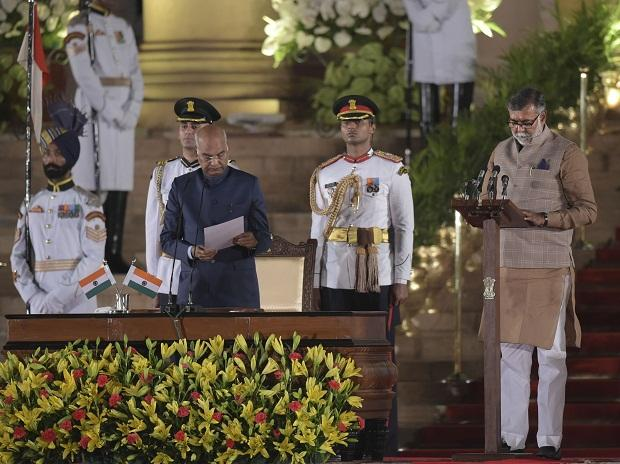 New Delhi: Prahlad Singh Patel being sworn-in as a Minister of State by President Ram Nath Kovind during the swearing-in ceremony at the forecourt of Rashtrapati Bhawan in New Delhi, Thursday, May 30, 2019. (PTI Photo/Vijay Verma)