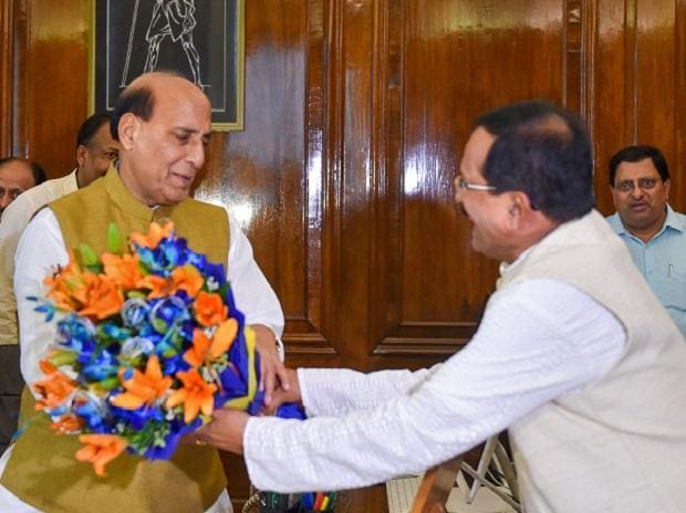 Rajnath Singh taking charge as the new Defence minister