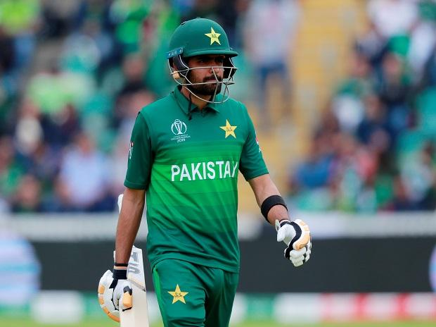Pakistan's Babar Azam looks dejected after losing his wicket at the County Ground Taunton, England