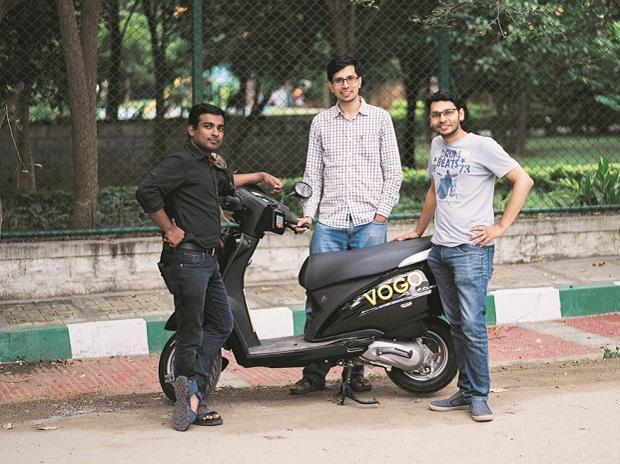 Vogo founders (from left) Padmanabhan Balakrishnan,  Anand Ayyadurai and Sanchit Mittal