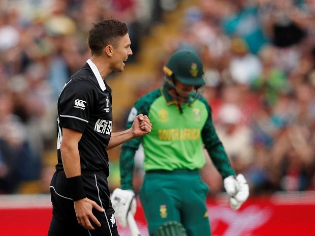 Trent Boult celebrates after getting the wicket of Quinton de Kock