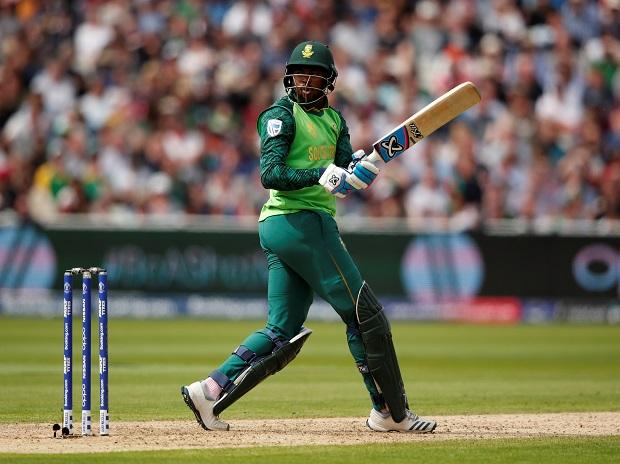 South Africa's Andile Phehlukwayo reacts after playing a shot at Edgbaston in Birmingham