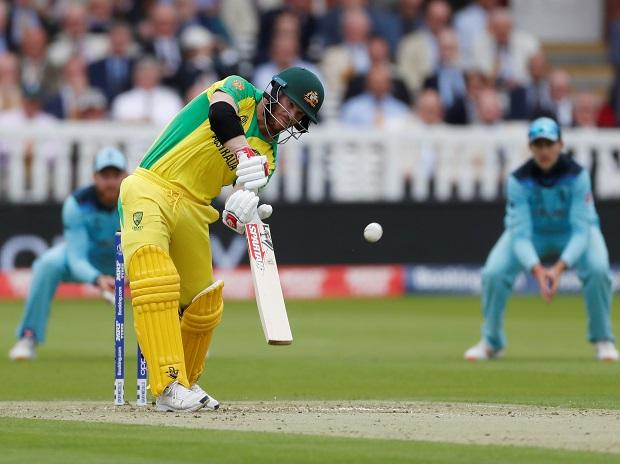 David Warner while playing a short in match against England