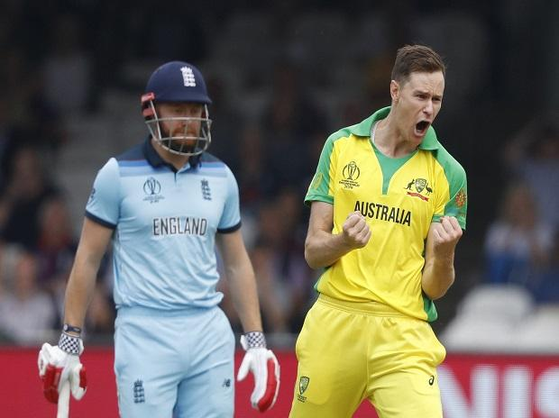 Australia's Jason Behrendorff celebrates after taking the wicket of England's James Vince clean bowled