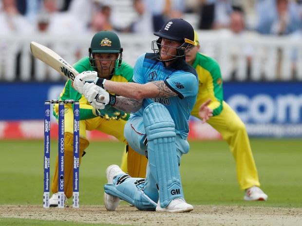 Ben Stokes playing against Australia during the Cricket World Cup match