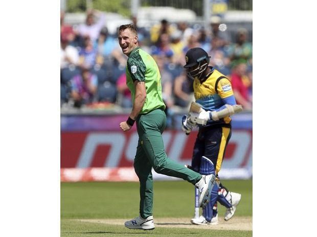 South Africa's bowler Chris Morris celebrates after bowling Sri Lanka's batsman Angelo Mathews for 30 runs