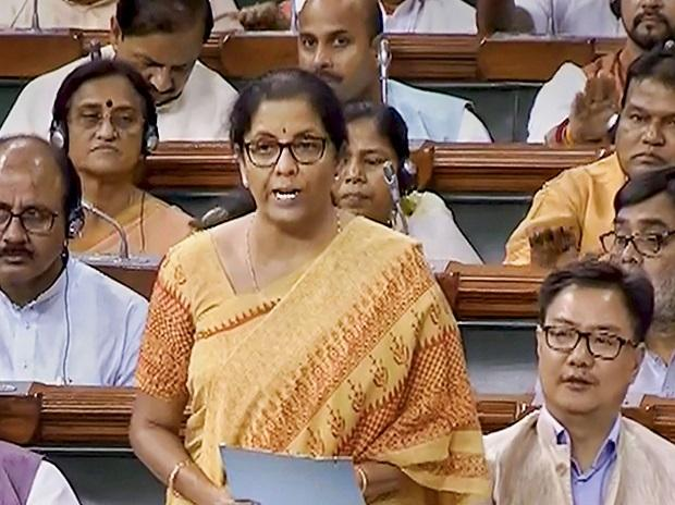 Finance Minister Nirmala Sitharaman speaks in the Lok Sabha during the Budget Session of Parliament