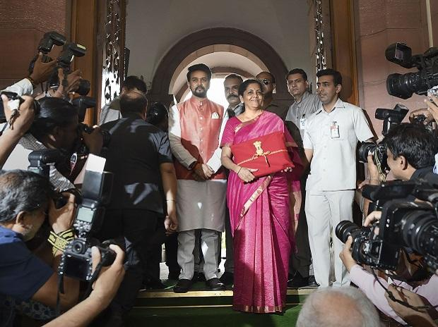 Finance Minister Nirmala Sitharaman and MoS Anurag Thakur arrive at Parliament to present the Union Budget 2019-20 | Photo: PTI