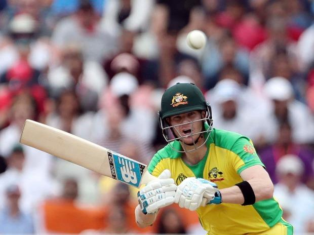 Australia's Steve Smith bats during the Cricket World Cup semi-final match