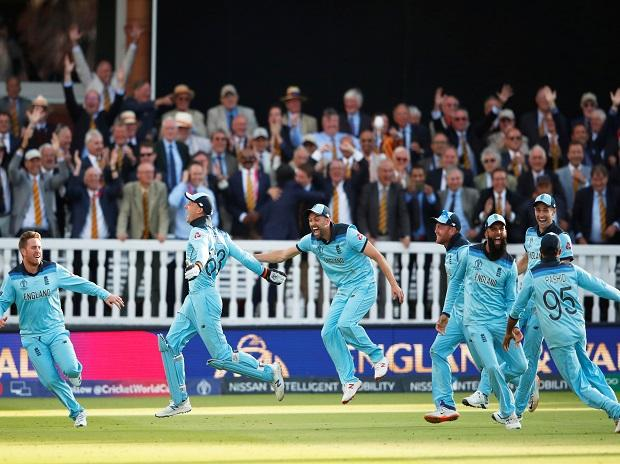 England cricket team celebrate after defeating New Zealand in World Cup final at Lord's