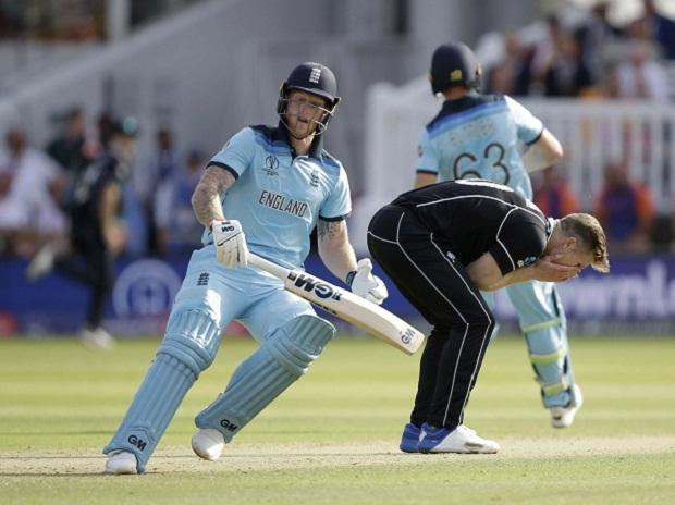 London: New Zealand's James Neesham, center, reacts as England's Jos Buttler, left, and Ben Stokes run between the wickets to score during the Cricket World Cup final match between England and New Zealand at Lord's cricket ground: Photo: AP/PTI Photo