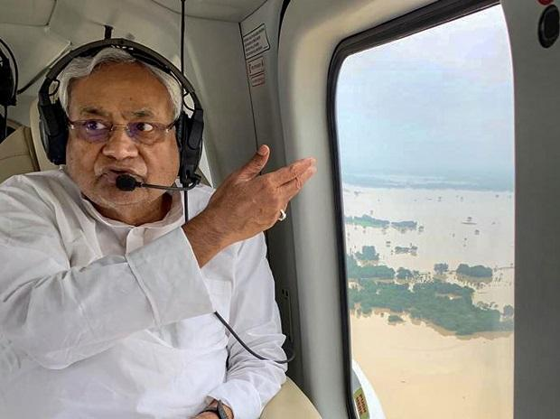 Bihar Chief Minister Nitish Kumar takes aerial survey of  the flood affected districts of Bihar, Sunday