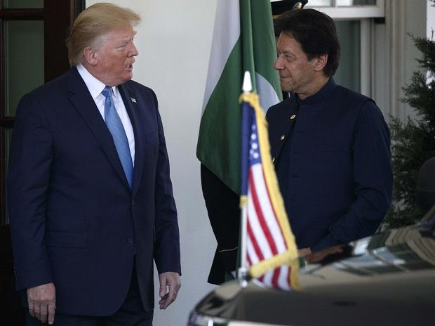 Donald Trump and Imran Khan during a meeting in the Oval Office of the White House in Washington. Photo: AP/PTI