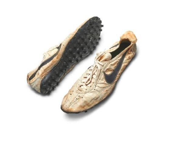 The 1972 Nike Waffle Racing Flat 'Moon Shoe,' the last remaining pair in Sotheby's Stadium Goods. Photo: Twitter - @Sothebys
