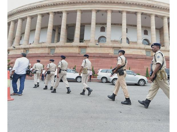 CRPF jawans at the Parliament House during the Budget Session, New Delhi. Photo: PTI