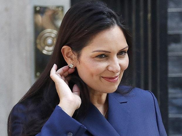 London:  Britain's Home Office Secretary Priti Patel leaves after a Cabinet meeting at 10 Downing Street in London, Thursday, July 25, 2019.  Newly installed Prime Minister Boris Johnson held his first Cabinet meeting Thursday, replacing many members