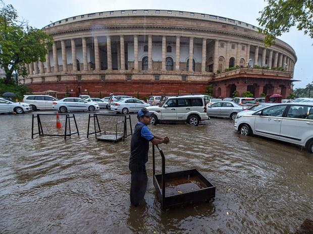 Parliamentarians also had a tough time getting into Parliament House complex with a mini-traffic jam because of pouring rains