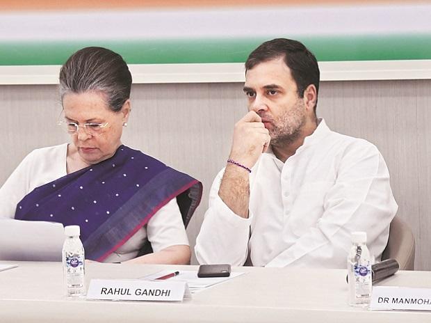 Congress Interim President Sonia Gandhi and former party president Rahul Gandhi at the CWC meeting on Saturday | Photo: Sanjay k Sharma
