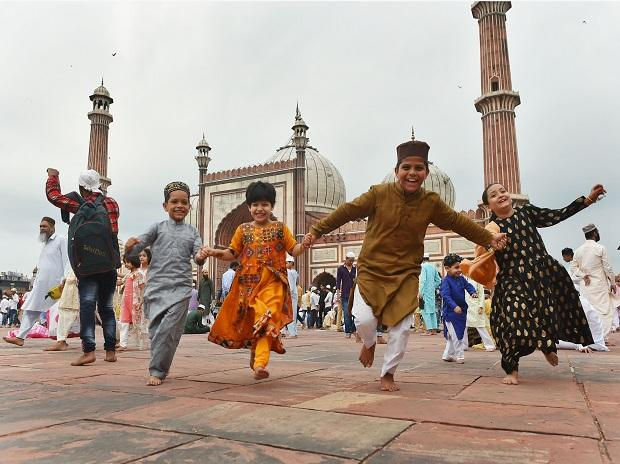 Muslim children jubilate at Jama Masjid on the occasion of Eid al-Adha, in New Delhi