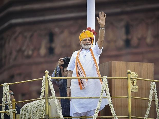 New Delhi: Prime Minister Narendra Modi waves at the crowd from the ramparts of the historic Red Fort on the occasion of 73rd Independence Day, in New Delhi, Thursday, Aug 15, 2019. (PTI Photo/Arun Sharma)