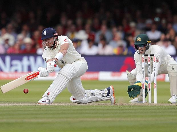 England's Jonny Bairstow plays a shot off the bowling of Australia's Nathan Lyon during the second day of the second Ashes test match between England and Australia at Lord's cricket ground in London. Photo: AP/PTI