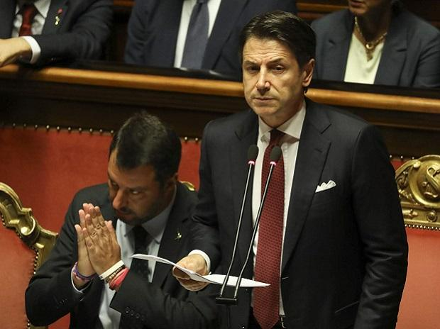 Giuseppe Conte, Italy's prime minister, addresses the Senate in Rome, Italy, on Tuesday, Aug. 20, 2019. Alessia Pierdomenico/ Bloomberg