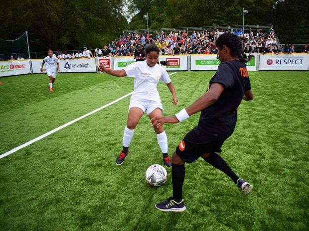 The Indian women's team, sent by Slum Soccer, in action at the Homeless World Cup 2019