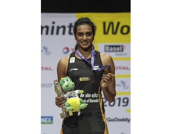PV Sindhu after winning her women's singles final match against Japan's Nozomi Okuhara at theBasel in Basel, Switzerland, Sunday, Aug. 25, 2019. (Photo:AP/PTI)