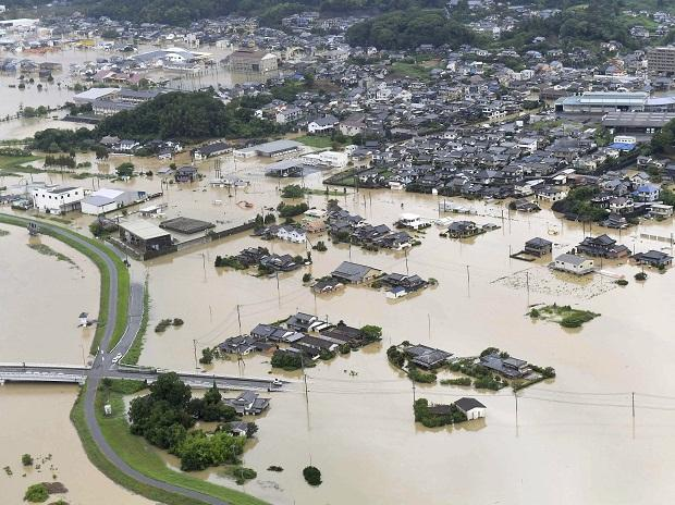 An aerial view shows submerged houses and facilities at a flooded area in Takeo, Saga prefecture, southern Japan.  Photo: Reuters