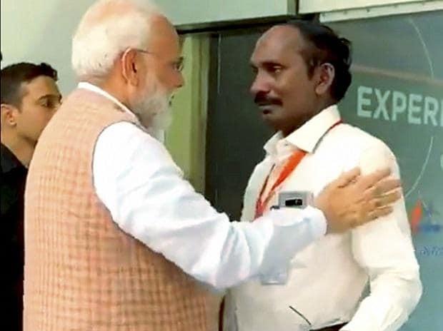 PM Narendra Modi consoles ISRO Chief K Sivan. Photo: PTI