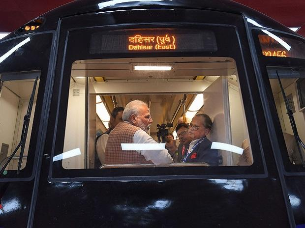 The Prime Minister at the metro coach exhibition area in Mumbai	| Photo: PTI