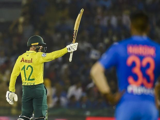 Quinton de Kock after scoring half century against India in the 2nd T20