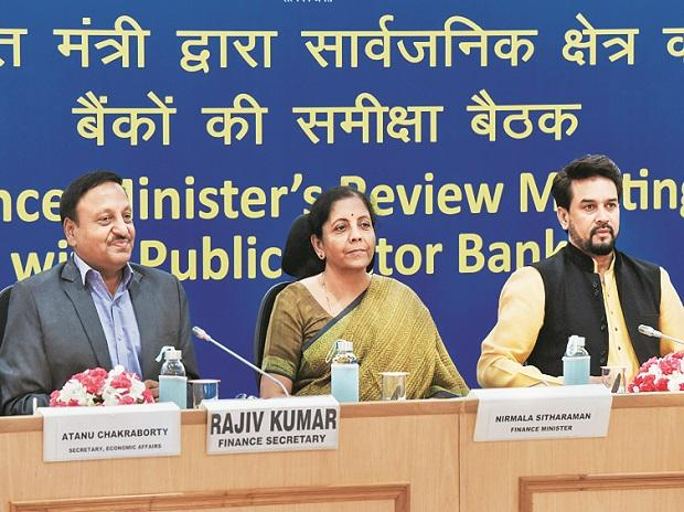 Finance Minister Nirmala Sitharaman with Finance Secretary Rajiv Kumar  at a review meeting with heads of public sector banks in New Delhi 	photo:pti