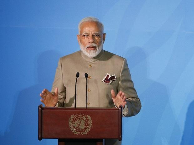India's Prime Minister Narendra Modi addresses the Climate Action Summit in the United Nations General Assembly, at U.N. headquarters. (Photo: AP/PTI)